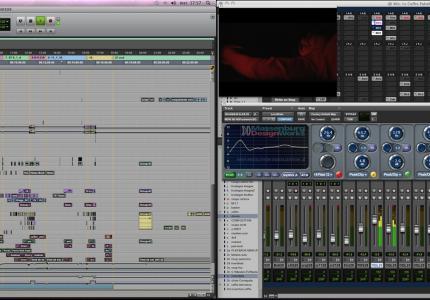 voici ce que devient une TimeLine de montage dans un logiciel audio (Pro Tools)