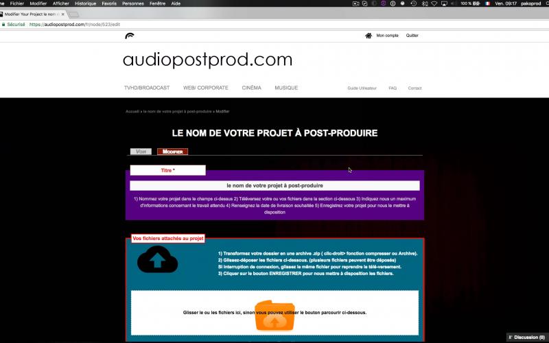 La page projet est l'axe central des échanges avec les services audiopostprod.com