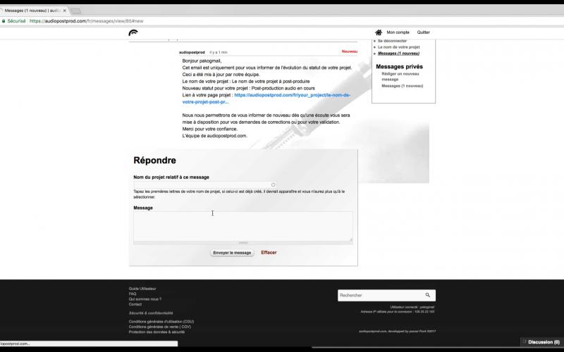 La messagerie comporte un lien direct pour se rendre sur la page projet.